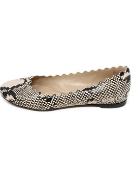 Chloe Black Beige Animal Print Leather Flats 2