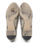 Chloe Black Beige Animal Print Leather Flats 4