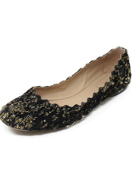 Chloe Black Lurex Gold Flats 1