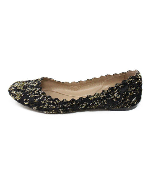 Chloe Black Lurex Gold Flats 2