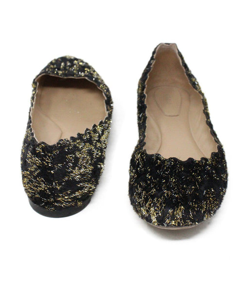 Chloe Black Lurex Gold Flats 3