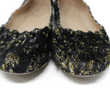 Chloe Black Lurex Gold Flats 6