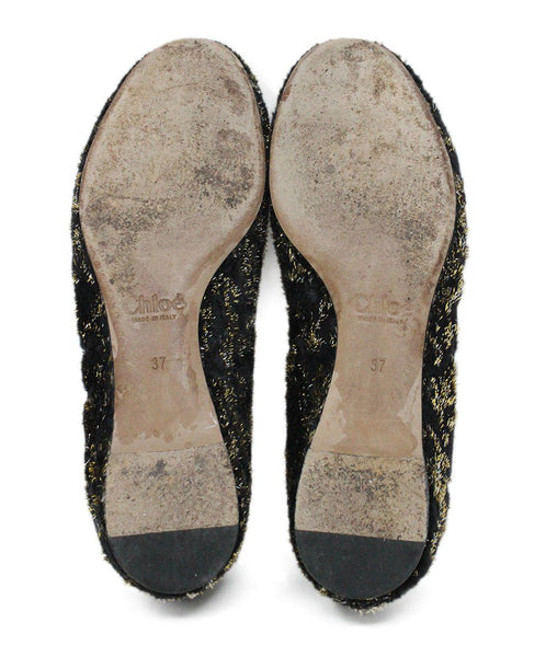 Chloe Black Lurex Gold Flats 4