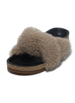 Chloe Black Leather Beige Shearling Sandals 1
