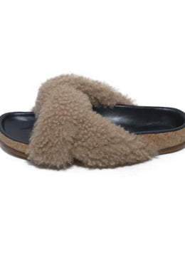 Chloe Black Leather Beige Shearling Sandals 2