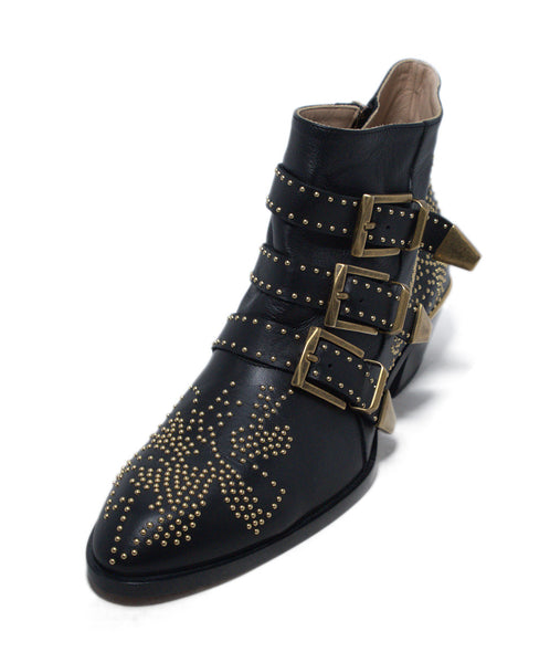 Chloe Black Leather Gold Studded Booties 1