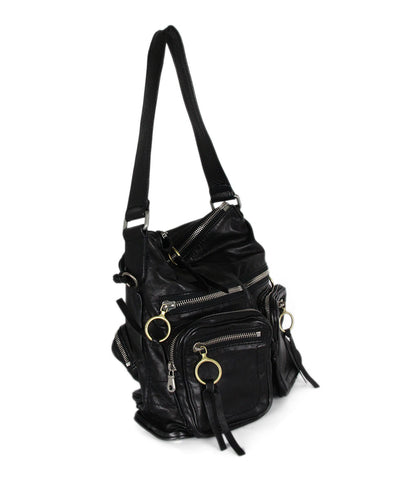 Chloe Black Leather Zipper Trim Shoulder Bag Handbag 1