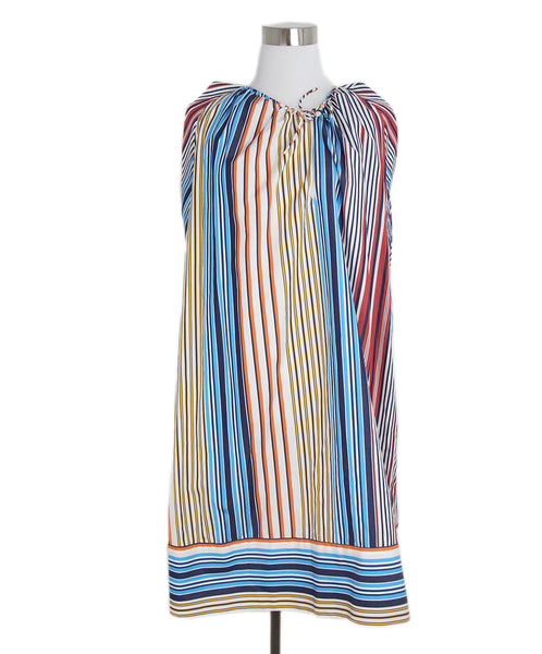 Chloe black red white yellow striped dress 1