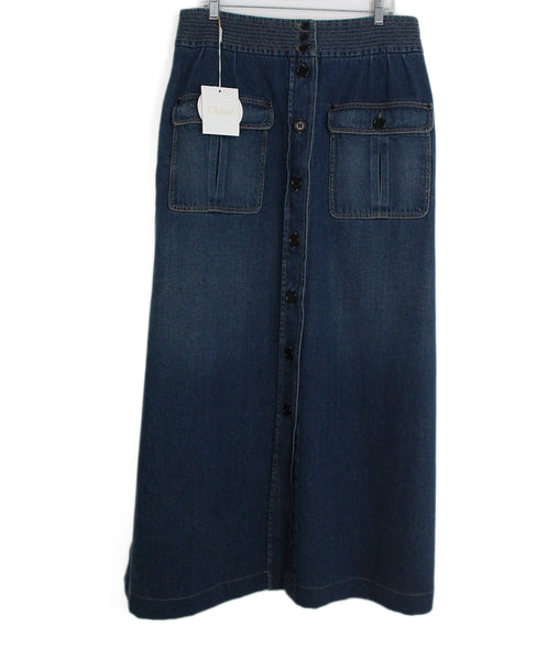 Chloe blue denim long skirt 2