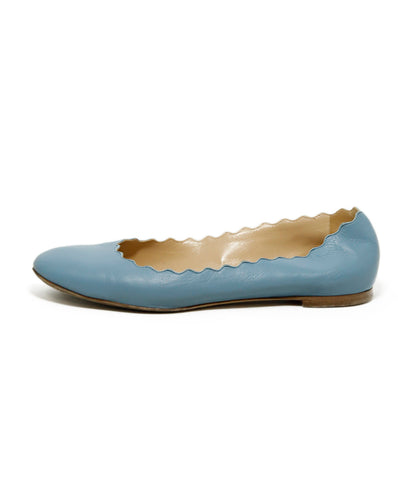 Chloe Blue Leather Scallop Flats 1