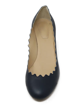 Chloe Navy Leather Pumps with Scalloped Edge Detail 2