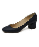 Chloe Navy Leather Pumps with Scalloped Edge Detail 1