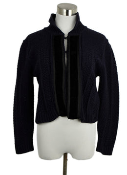 Chloe Blue Navy Wool Velvet Trim Cardigan Sweater 1