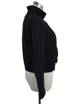 Chloe Blue Navy Wool Velvet Trim Cardigan Sweater 2