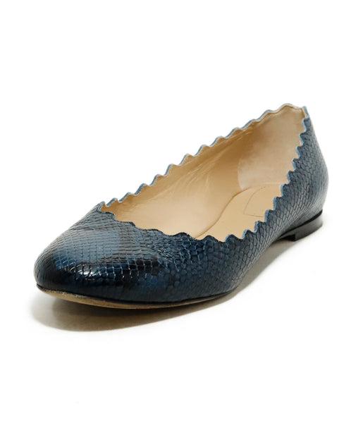 Chloe Blue Pressed Leather Snake Print Flats 1