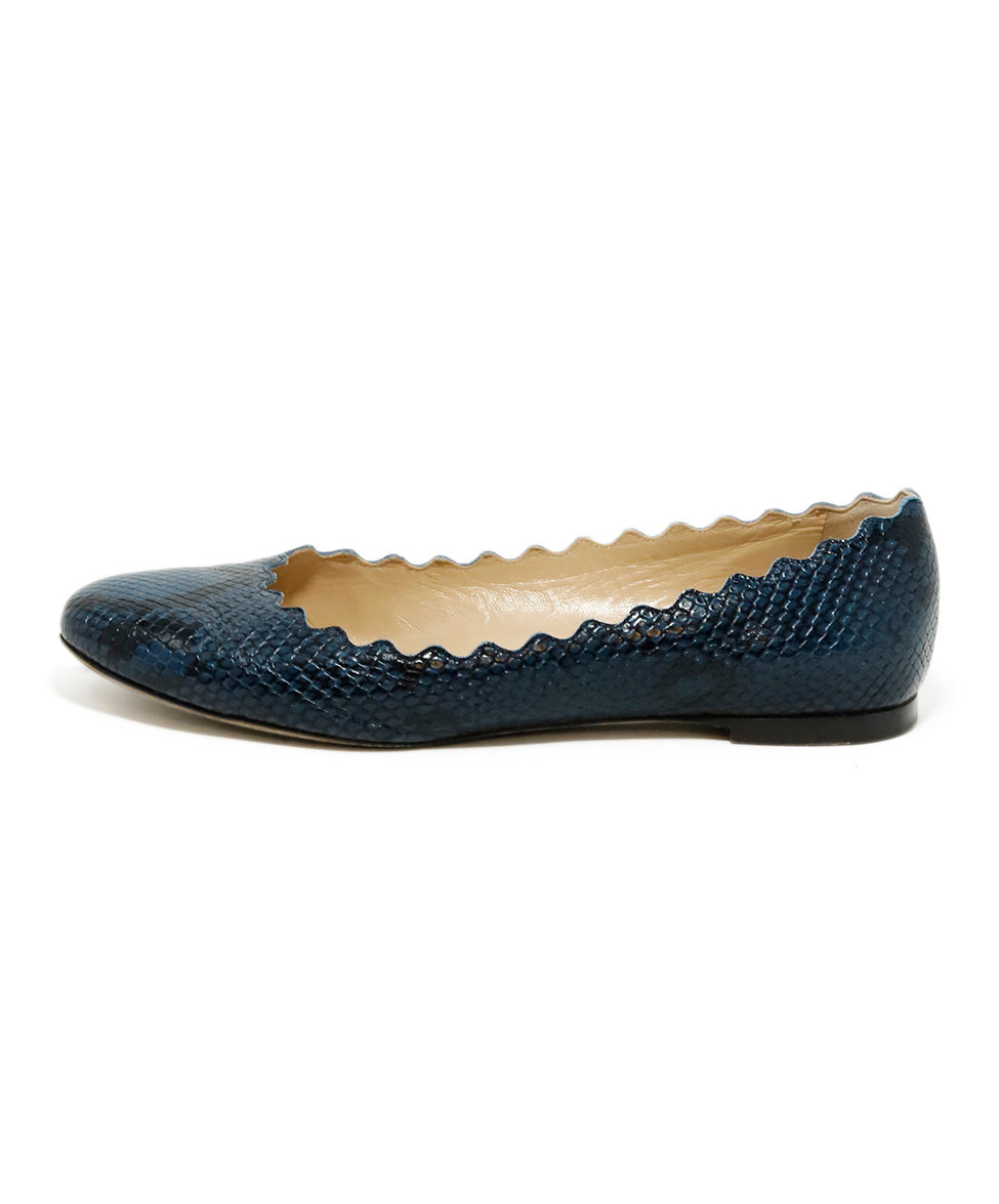 Chloe Blue Pressed Leather Snake Print Flats 2