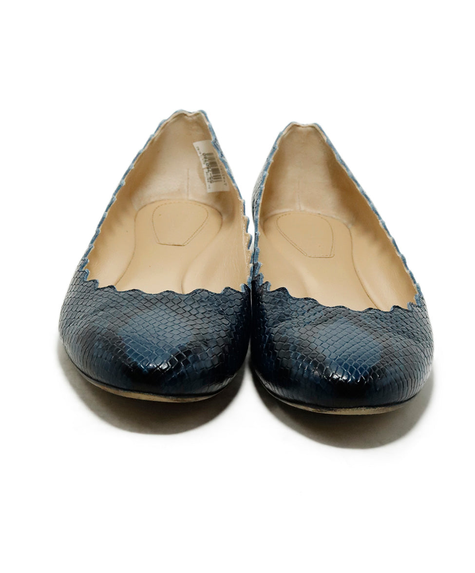 Chloe Blue Pressed Leather Snake Print Flats 4