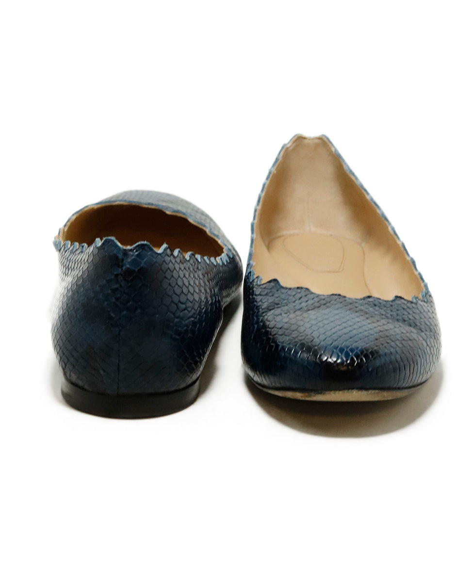Chloe Blue Pressed Leather Snake Print Flats 3