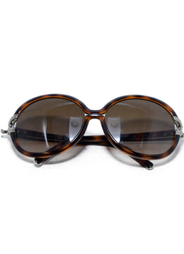 Chloe Brown Tortoise Plastic  Brown Lens Gold Trim Sunglasses 1