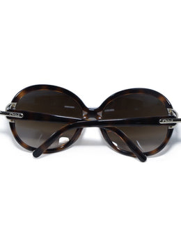 Chloe Brown Tortoise Plastic  Brown Lens Gold Trim Sunglasses 2