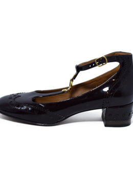 Chloe Burgundy Patent Leather Mary Janes Flats 2