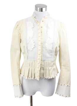 Chloe Cream Polyamide Silk Cotton Pleated Jacket 1