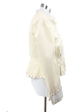 Chloe Cream Polyamide Silk Cotton Pleated Jacket 2