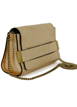Chloe Gold Leather Metallic Gold Handbag 2