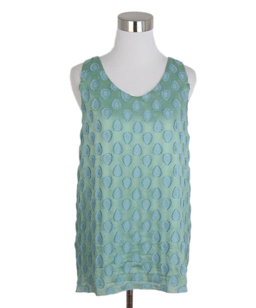 Chloe green blue print top 1