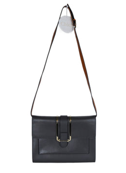 Chloe Grey Leather Brown Strap Shoulder Bag 1