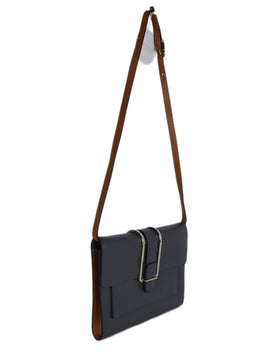 Chloe Grey Leather Brown Strap Shoulder Bag 2