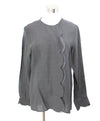 Chloe Grey Scalloped Silk Linen Top 1