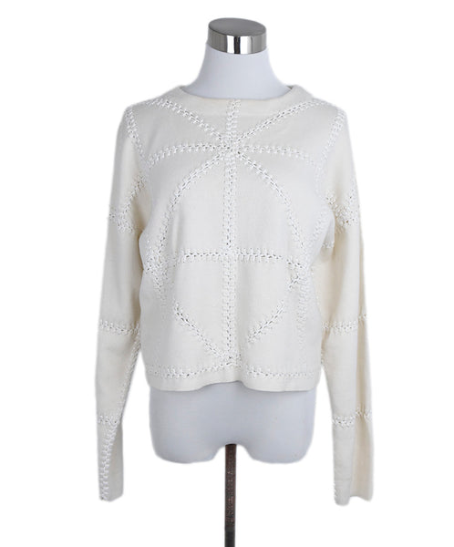 Chloe Ivory Cashmere Cotton Stitching Detail Sweater 1