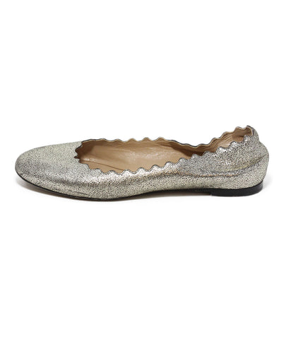 Chloe metallic gold leather flats 1