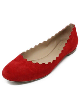 Chloe Red Suede Flats 1