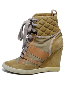 Chloe Neutral Tan Suede Canvas Lace-Up Booties 2