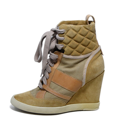 Chloe Neutral Tan Suede Canvas Lace-Up Booties 1