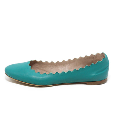 Chloe teal leather flats 1