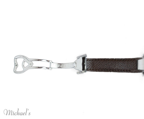 Chopard Brown Leather Stainless Steel Watch