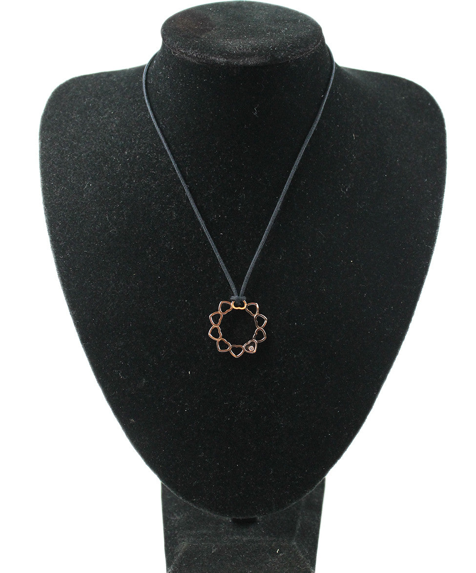 Necklace Chopard Metallic 18 K Gold Diamond Black Cord Jewelry - Michael's Consignment NYC  - 1