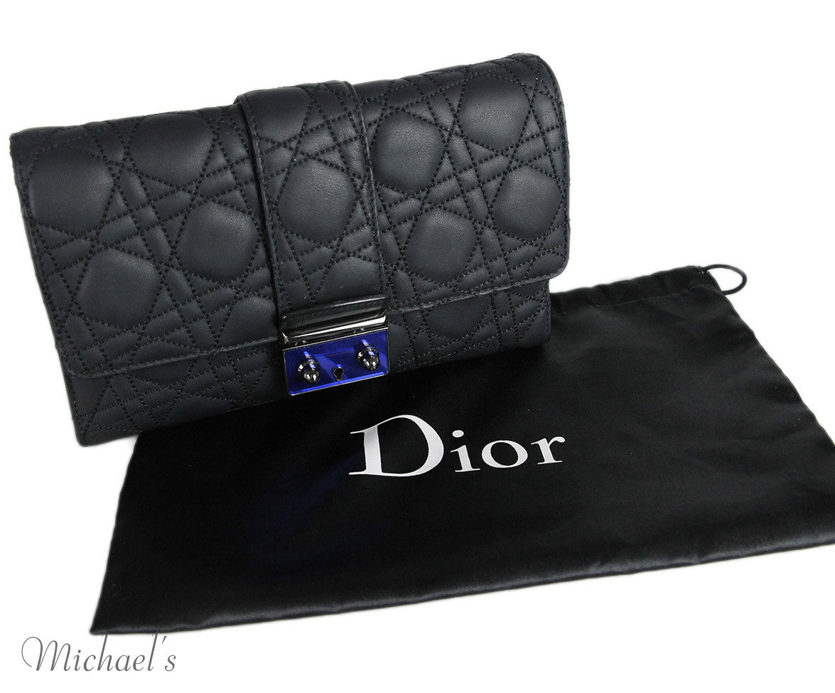 Dior Black Quilted Leather Clutch
