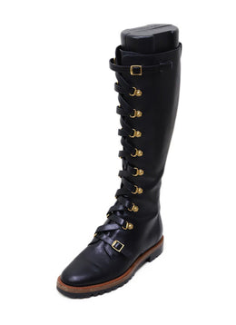 Christian Dior Black Leather Lace-Up Boots