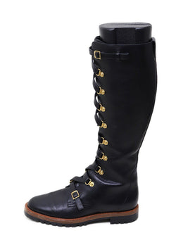 Christian Dior Black Leather Lace-Up Boots 1
