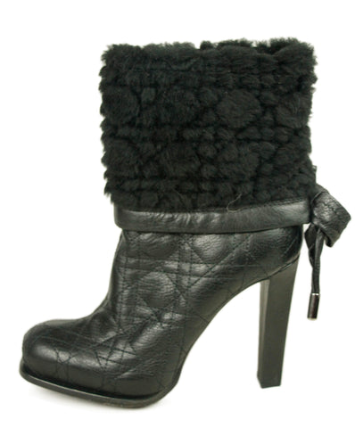 Christian Dior Black Leather Shearling Trim Boots 1