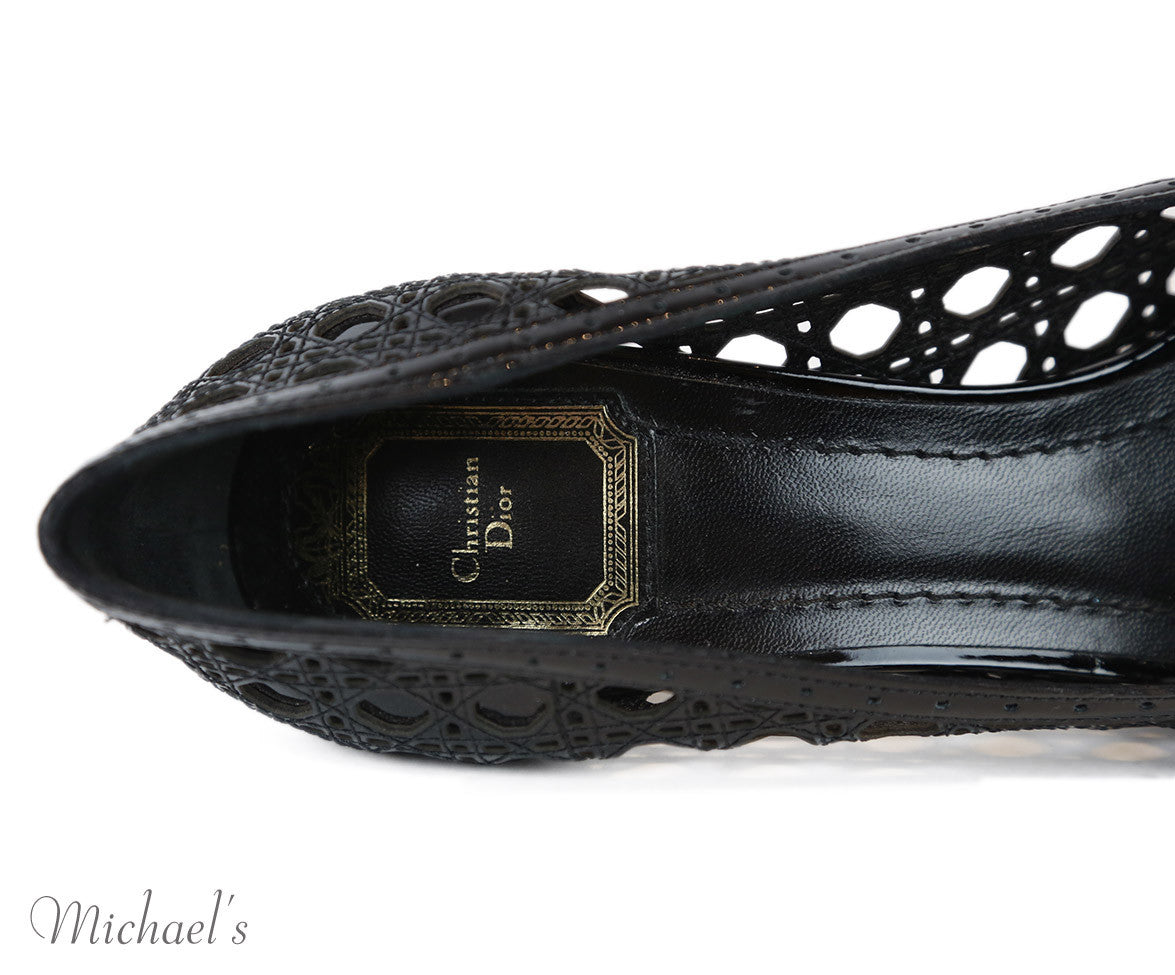 Christian Dior Black Patent Leather Cutwork Peep Toe Shoes Sz 39