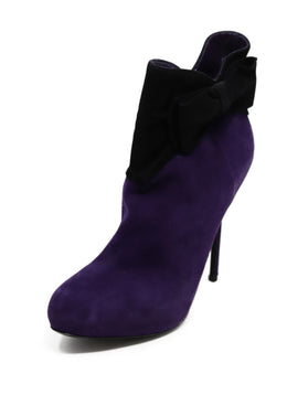 Christian Dior Purple Black Suede Bow Trim Booties