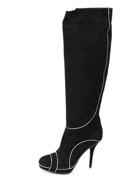 Christian Dior  Black Suede Gold Trim Boots 2