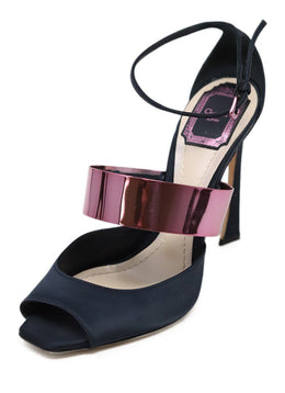 Christian Dior Navy Satin Stiletto Heels with Pink Metal Accent 1