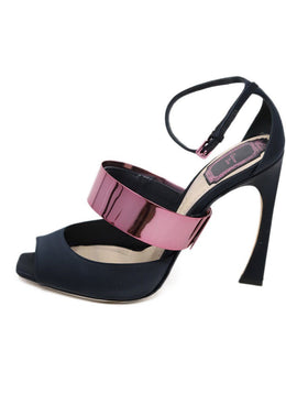Christian Dior Navy Satin Stiletto Heels with Pink Metal Accent 2