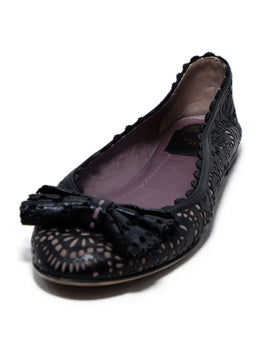 Christian Dior Black Lilac Cut Leather Flats 1